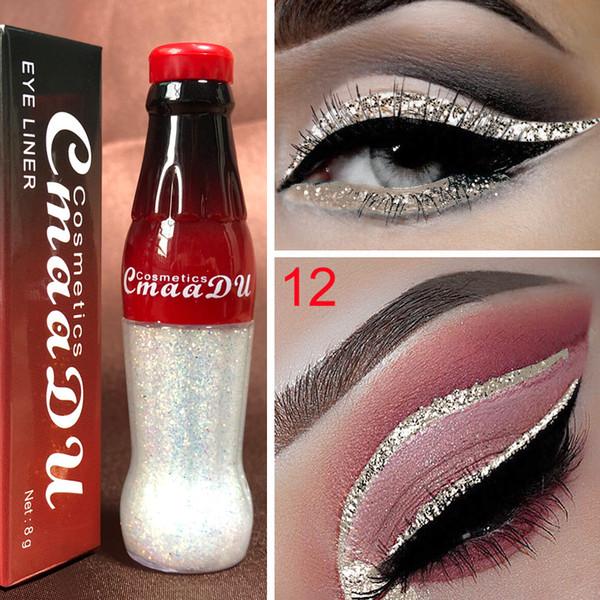 CmaaDu Cola Style Glitter Liquid Eyeliner Pigmento impermeable Verde Púrpura Rojo Blanco Color Sombra de ojos Belleza Eye Liner Maquillaje