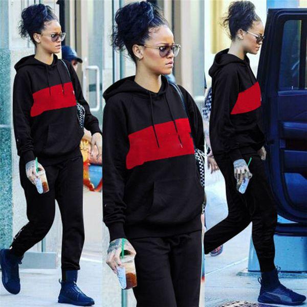 2019 Brand Designer Women Stitching Long Sleeve Hoodie+Leggings 2pcs Set Bodycon Pullover Pants Tracksuit Jogger Tights Sweatsuit Sport suit