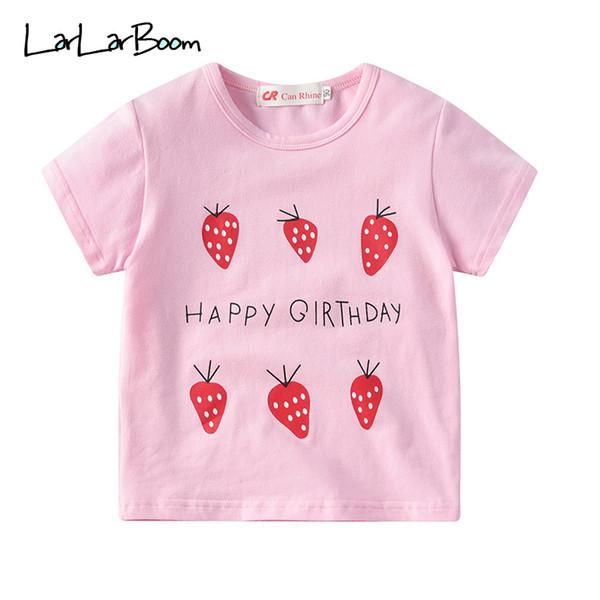 LarLarBoom Meninas Tops de Verão de Manga Curta de Algodão Crianças Tees Casual Roupas Infantis Bonito Morango Padrão Baby Girl T-shirt