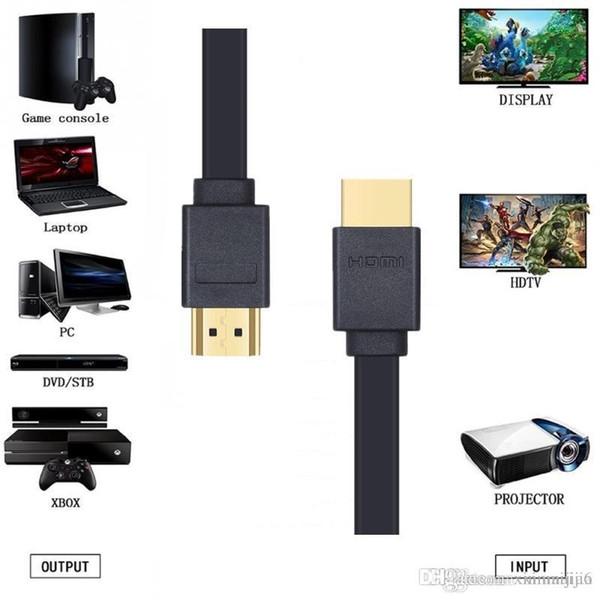 El cable FLAT HDMI de alta velocidad de Lungfish admite la resolución de audio en 3D de resolución 1080P de Ethernet 3M