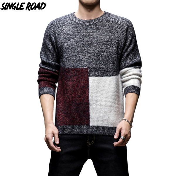 singleroad thick sweater men 2019 winter wool clothes knitted pullover cashmere sweaters male loose fashion colorblock jumper