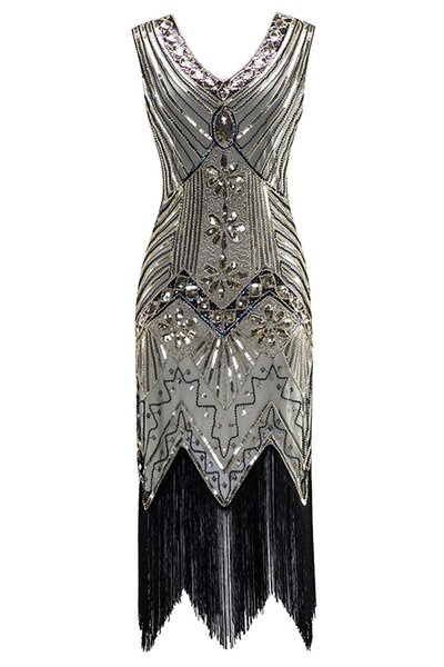 QUALITY Women 1920s Sequined Vintage Dress Beaded Gatsby Flapper Evening Dress Prom Embellished Art Deco Roaring 20s Party Costume