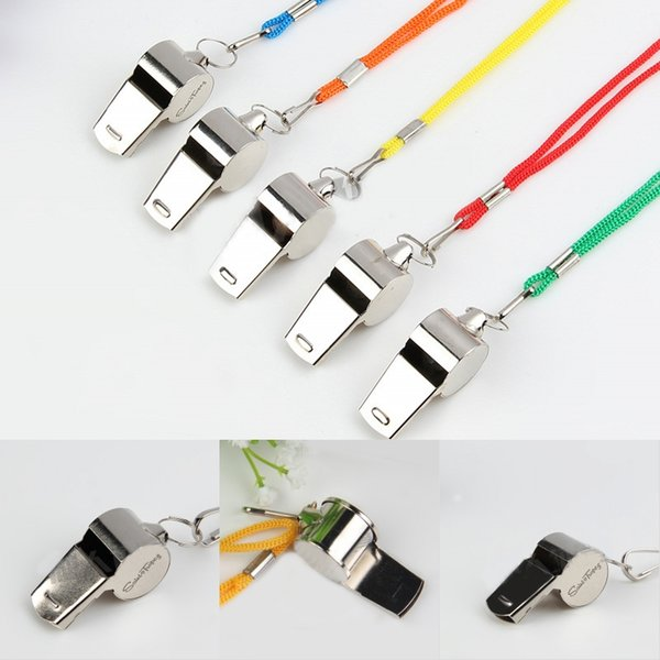 2019 Utility Metal Whistle with Multicolor Lanyard Outdoor Rescue Tools Soccer Football Referees Officials Sports Whistle EDC Gear M65R