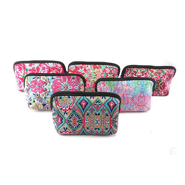 Borsa per trucco da viaggio portatile 6 disegni Custodia in neoprene per cosmetici Porta gioielli da donna 100 pezzi DHL