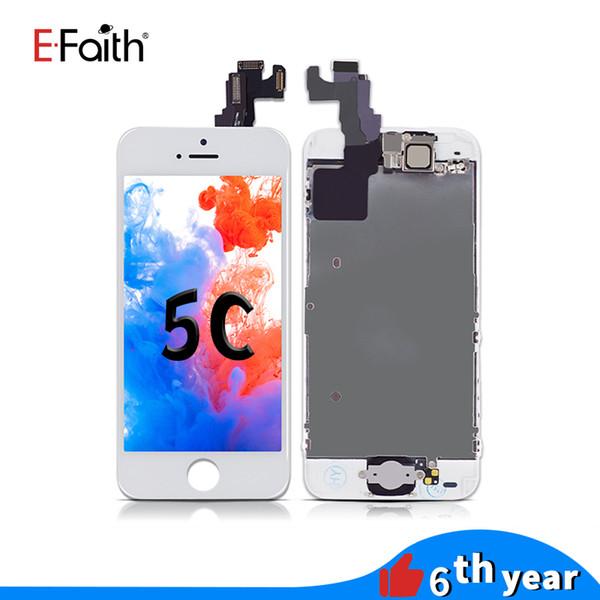 Lcd-Schirm für iPhone 5C Schwarzes mit Hauptknopf und vorderer Kamera-Anzeigen-Analog-Digital wandler Versammlung mit Zusatz-freiem DHL-Verschiffen
