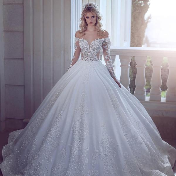 Romantische elegante weiße Satin Brautkleider 2019 neue Illusion Mieder schiere lange Ärmel Spitze Perlen Land Strand Hochzeit Brautkleider