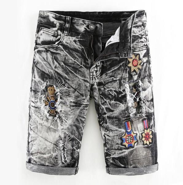 Kişilik pantolon erkek yama pantolon kısa kot erkekler işlemeli moda Streç delik düz gevşek pantalon homme sokak yenilik 78451444