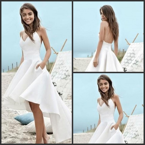 Simple plage Une ligne Robes de mariée spaghetti Straos Salut-Lo Backless Robes de mariée Robes de mariée Robe de mariée dos ouvert vestidos de novia