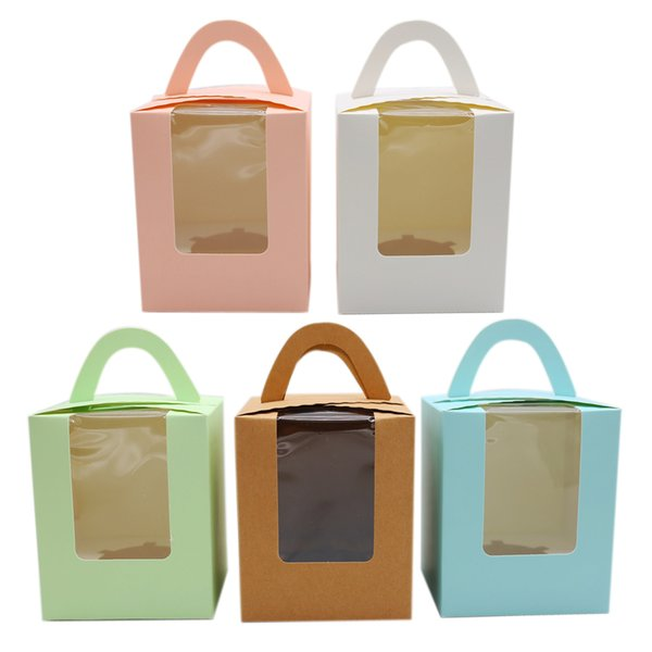 Cupcake Boxes With Handle Wedding Favors Cake Box And Packaging Cupcakes Packaging Box 30pcs/lot T8190629