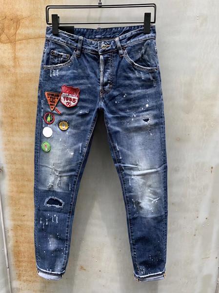 best selling Mens Designer Pants New Style Casual Skinny Sweatpants Mens Designer Ripped jeans Mid-waistline Pants Brand Mens Jeans Collage Design