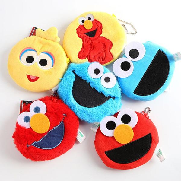 Cartoon Drei Farben Plüsch Geldbörse Sesamstraße Elmo Cookie Monster Brieftasche Durable Kind Kinder Aufbewahrungstasche Praktische 8jx BB