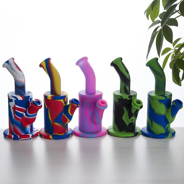 Silikon Wasserpfeife farbig Silikonpfeife mit Downstem Camouflage Recycler Oil Rigs 9