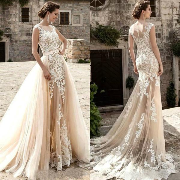 top popular 2019 Vintage Mermaid Wedding Dresses With Detachable Train Sleeveless Lace Applique Beach Wedding Dress Summer Boho Bridal Gowns Custom Made 2019
