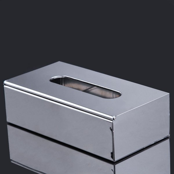 Square Paper Container Tissue Box Stainless Steel Elegant Napkin Holder Office