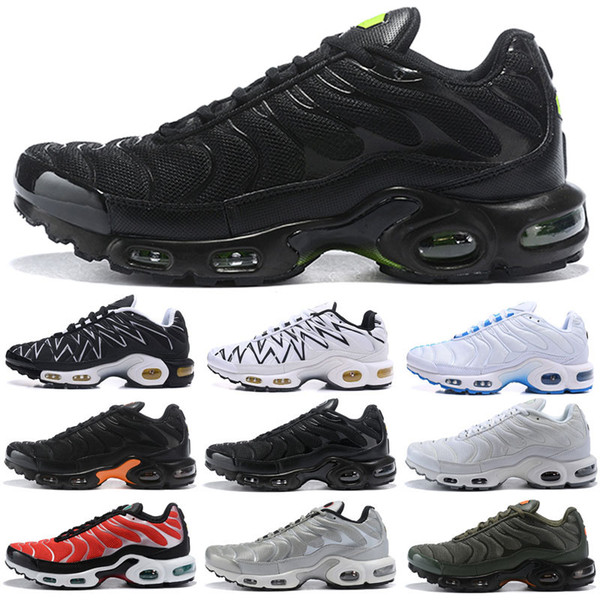 Nouveau TN Hommes Chaussures De Course Tns Plus Air Fashion Aération Augmentée Ventilation Baskets Casual Olive bleu noir Hommes Designer Sneakers