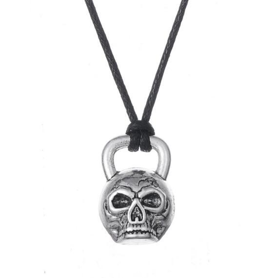 Viking Bijoux Slave Kettlebell Crâne En Forme De Pendentif Slaves Amulette Collier Punk Os Gothique Halloween Bijoux