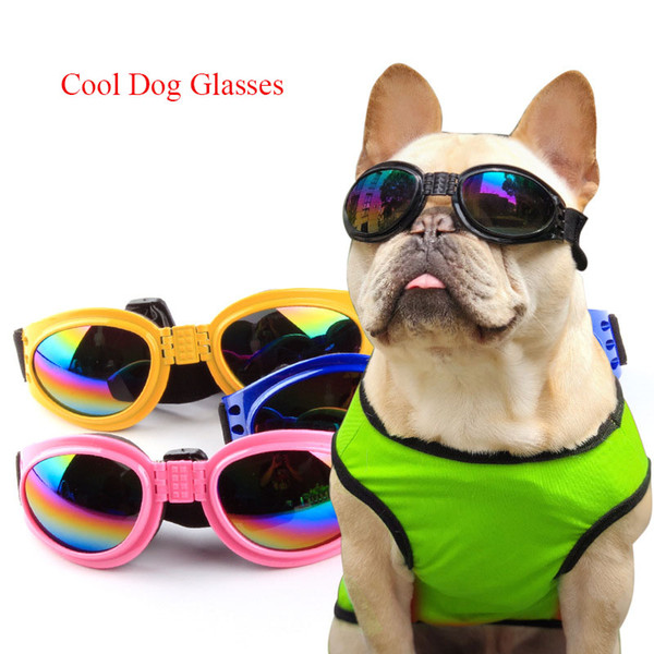 top popular 5Pcs lot Pull Wind Fashion Dogs Pets Accessories Foldable Pet Glasses Dog Sunglasses Windproof and Moth Proof Sunglasses Pet Supplies 2020