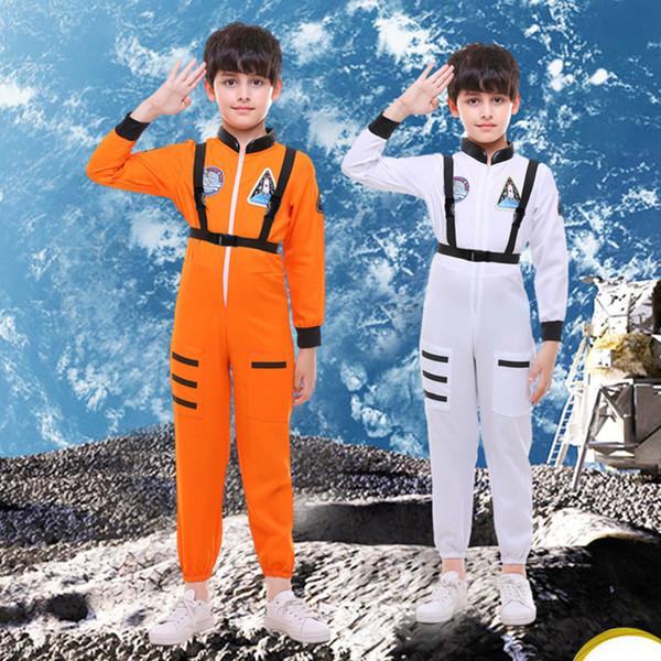 Yeni Astronot Boys Çocuk Cadılar Bayramı Yakışıklı Spaceman için Fantezi Elbise oyna Üniforma Rolü Cosplay Kostüm