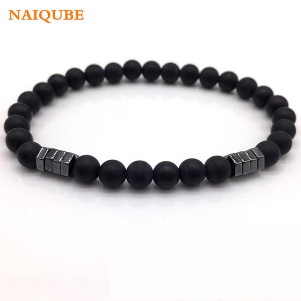 NAIQUBE 2018 New Fashion Geometric Beaded Men Bracelets Simple Classic Stone Bead Charm Bracelets & Bangles For Men Jewelry Gift C18122801