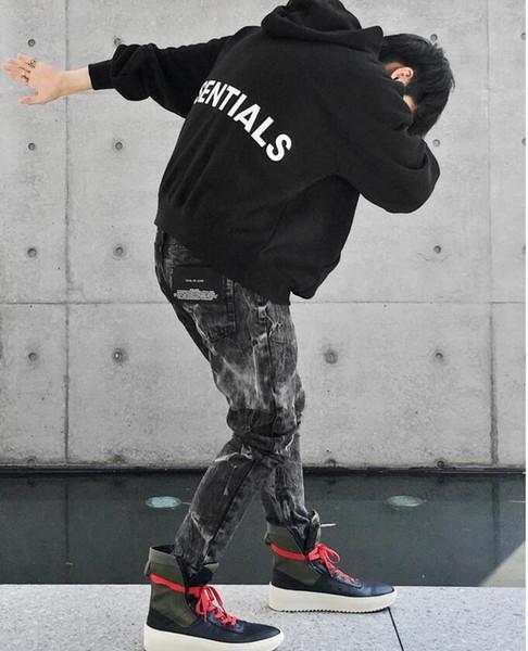 Essential gray Flag Logo FOG Hoodie homme Women fleece hoody hoodies france haute couture Sweatshirts Clothing