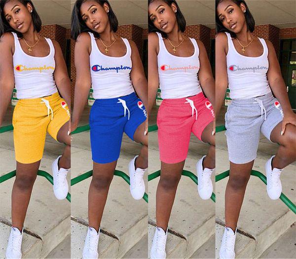Mulheres Campeões Letter camiseta sem mangas Vest Shorts Pants Verão Treino Outfit 2 Piece Set Sportswear Sports Yoga ginásio ternos A4801 S-3XL