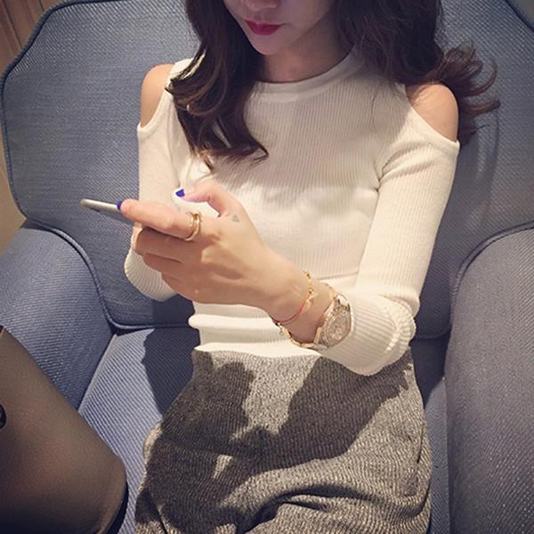 2019 sexy fuera del hombro suéteres jerseys moda coreana o-cuello de manga larga femme casual sólido jersey Tops ropa de mujer