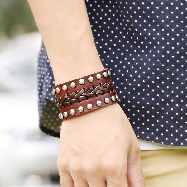 new fashion casual punk style rivet buckle belt pu leather bracelets bangles for women charm wristband wrap bangle