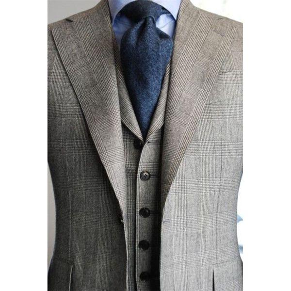 PERSONALIZADO PARA MEDIDAS Traje de BESPOKE para hombre, esmoquin AISLADO GRIS con patrón de damas grandes (Chaqueta + Pantalones + Corbata + Pañuelo de bolsillo) # 556151