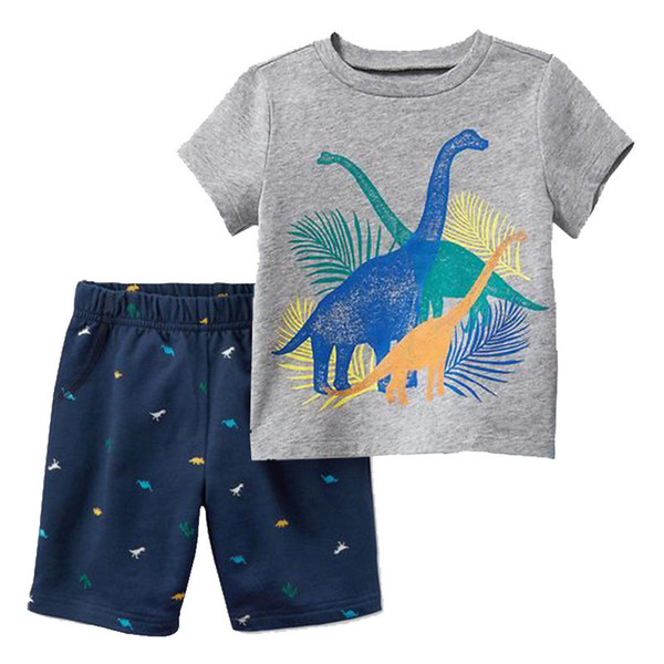 Cute Boy Kids Cartoon Dinosaurs Cars Print Top and Short Pant Cotton Suit Holiday Summer Beach Fashion Western New 2pcs Set Clothes