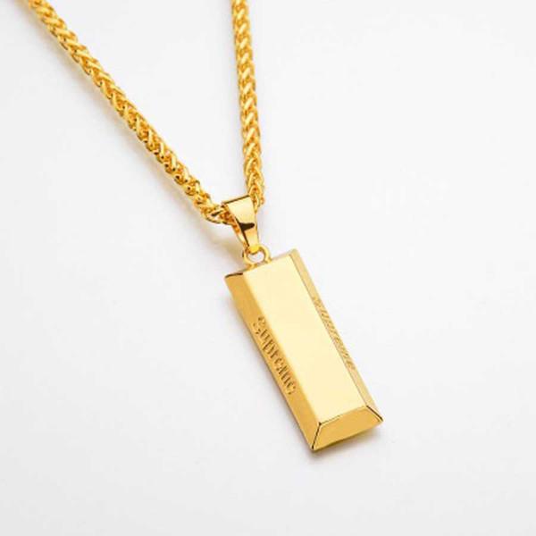 Novas Mulheres Colar De Luxo Hip Hop Designer Colares Moda Cristal De Ouro Pingente De Tijolo Colares Jóias Tempo Limitado