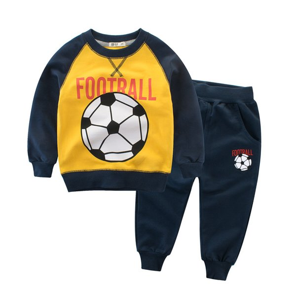 Free Shipping Boys Clothes Sets Two Pieces 2019 Spring Casual Cotton Kids Sets Patchwork Football Tops Pants Children Clothing Sets 4 Colors
