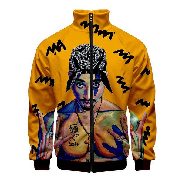 American Rapper Tupac 2PAC 3D Slim fit Windbreaker Hombres Slim fit Zipper Fashion Trend Chaqueta Casual Windbreaker