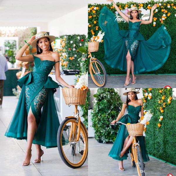 2020 Jägergrün Abendkleider mit abnehmbarem Zuge Appliqued Vorder Split Abendkleid Arabisch Tee-Länge plus Größen-formale Partei-Kleider