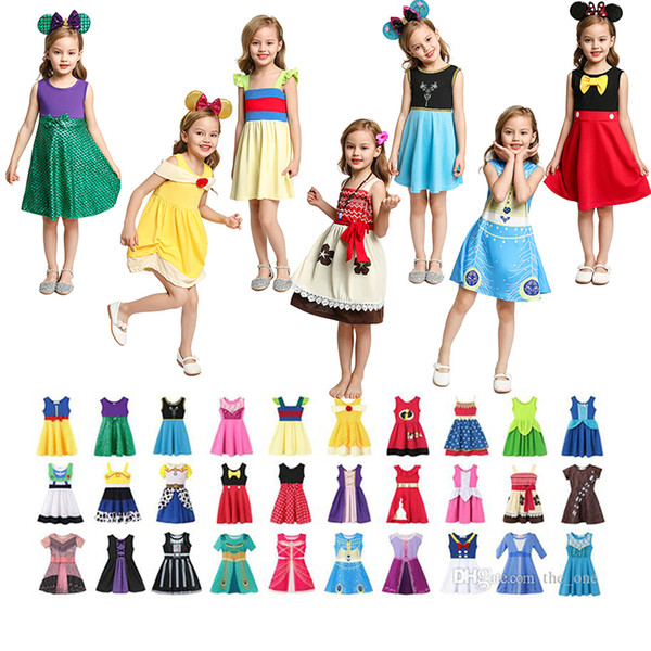 best selling Multicolor Little Girls Princess Summer Cartoon Children Kids princess dresses Casual Clothes Kid Trip Frocks Party Costume free DHL ship