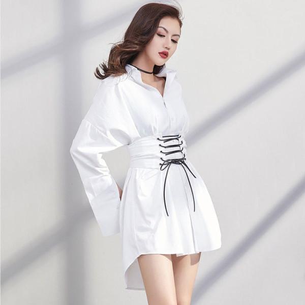 Nueva moda coreana 2018 Primavera Otoño Mujeres Camisa Estilo Sexy Vestido suelto Mujeres Vestidos de gran tamaño Vestidos con cinturón Vestido de fiesta