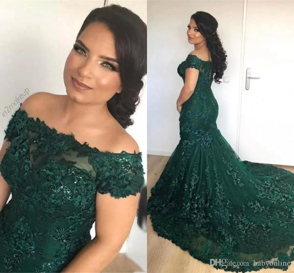 2019 African Dark Green Mermaid Evening Dresses Off the Shoulder Lace Sequins Corset Back Long Prom Celebrity Gowns BC0791