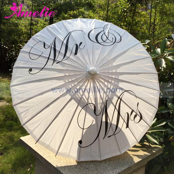 Ücretsiz Kargo Düğün Kişiselleştirilmiş Özel Mr ve Mrs Şemsiye Baskılı Gelin Kağıt Düğün Şemsiye Fotoğraf Prop