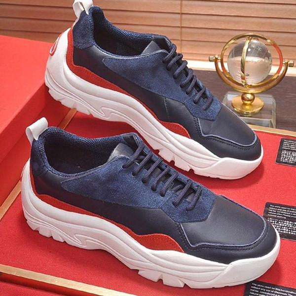 2019 Zapatos de hombre de lujo Moda casual Zapatos de hombre Punta redonda Gumboy Zapatilla de piel de becerro VL665 Chaussures pour hommes Vintage Envío rápido