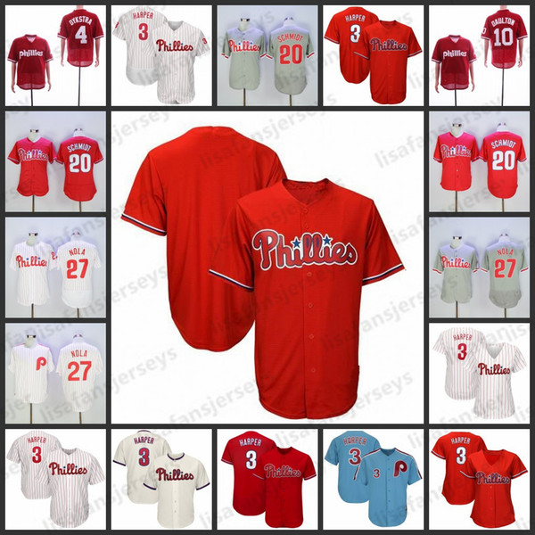 a2e8c5513 Custom Phillies Jerseys 3 Bryce Harper 20 Mike Schmidt 7 Maikel Franco 27  Aaron Nola Personalized