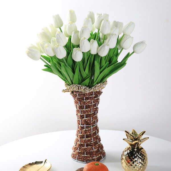 31 Pieces/lots Artificial Tulip Flower Real Touch Wedding Flower Bouquet Artificial Silk Flowers For Home Decoration Party T8190626