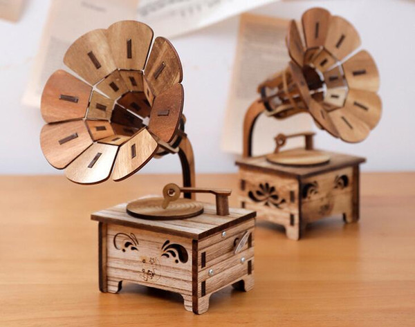 Wooden DIY Phonograph Music Box Sky City Gifts To Send Girls Birthday Creative