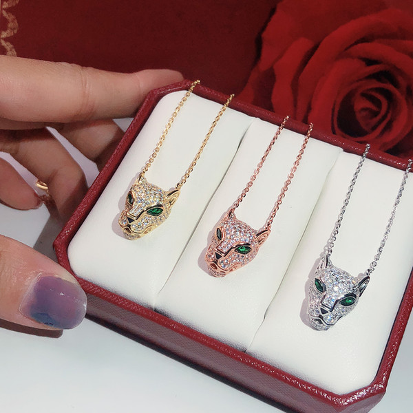 top popular s925 silver leopard print Necklace quality Popular high Fashion Party Jewelry For Women Luxurious Panther Wedding Jewelry Leopard Necklace 2021