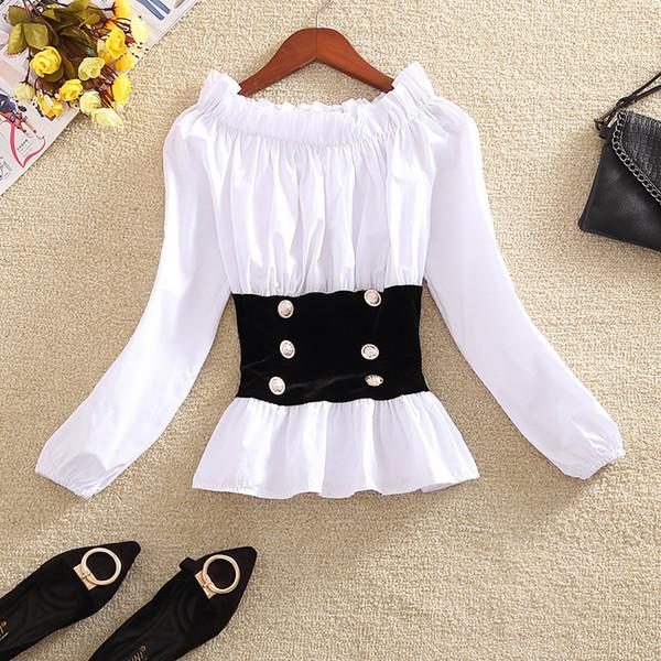 Sweet Blouse Women Short Shirt Crop Top Slash Neck Off-shoulder Patchwork Elastic Waist Ruffles Top Lantern Sleeve Japan T95291
