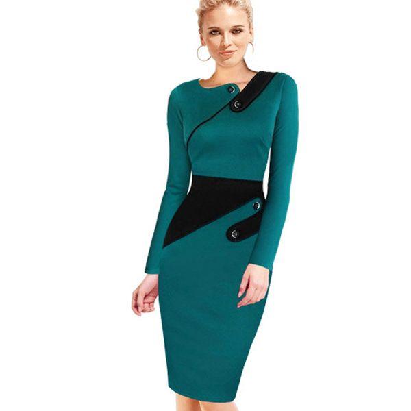 Black Dress Tunic Women Formal Work Office Sheath Patchwork Line Asymmetrical Neck Knee Length Plus Size Pencil Dress B63 B231 T4190612