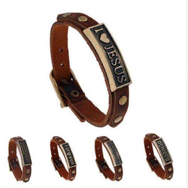 Старинные высокое качество английские слова кожаные браслеты для женщин Иисус сплава аксессуары homme пряжки ремня мужчины ювелирные изделия ручной работы группа