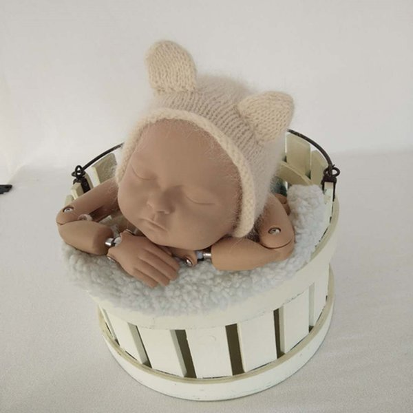 Newborn Mohair Bear Bonnet Photo Prop Baby Bear Hat Ivory Stone Beige Knit baby Loopy bonnet with Ears Newborn photography props