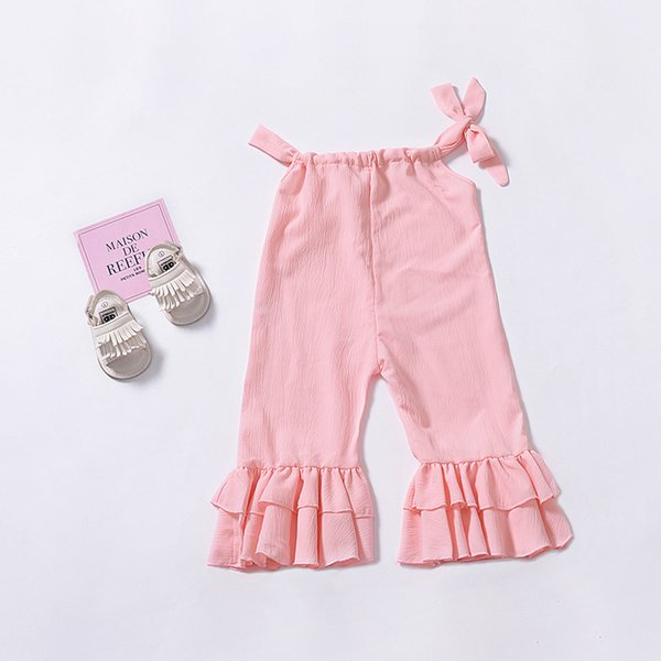 bc4ed7747e Baby girls Sling Jumpsuits INS children Solid color suspender ruffle  Rompers 2019 summer fashion Boutique kids