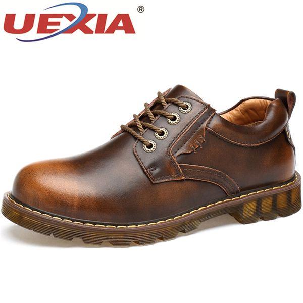 UEXIA Bottes Chaussures Fausses Main Mens Casual Mode Britannique Classique À Lacets Derby Travail Sécurité Chaussures Mâle Chaussures Zapatillas Hombre