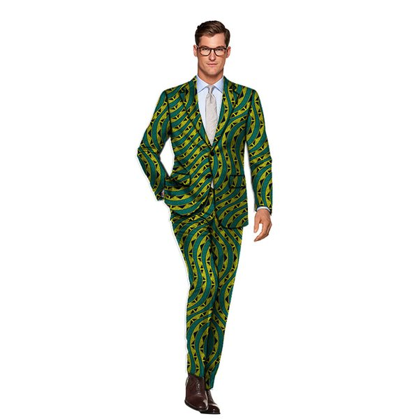 New Arrivals fashion pattern African men's suits man printed pant suits for wedding nigerian formal traditional dashiki clothing