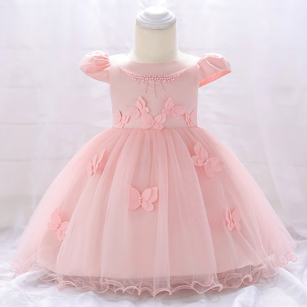 Baby Kids Clothing Girl Christening dresses 0 -24 months Lace cotton Girls Clothes Clothes Summer Dress Pearl decals Girls Evening Dresses